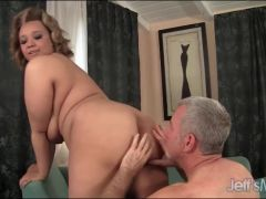 He loves fondling her saggy BBW tits