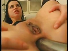 Cock and toy in streched pussy