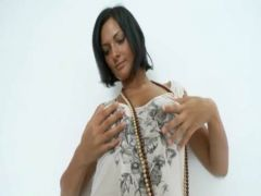 Beads in busty babes analhole