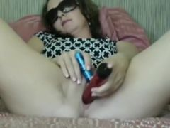 Mature lady with a good toy