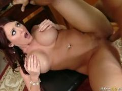 Big-assed Sophie Dee enjoys the giant dick ripping her love tunnels until she cums