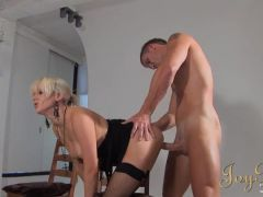 Blonde fucked in the photo studio as a girl watches