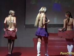 lesbian sex orgy on public stage
