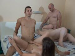 OLDNANNY: Old chubby granny fuck with lesbian girl and boy