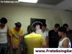 Straights crossdress in gay fraternity group