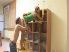 ivana cleaning room and sucking penis
