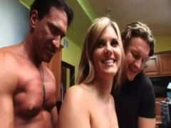 Girl with cute tits is groped by guys