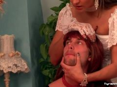 Humiliation of a sissy guy in a dress