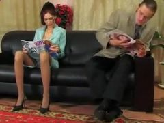 Judith Anal on Couch with Business Suit and Lingerie