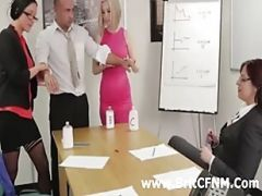 British CFNM Businesswomen Strip Man
