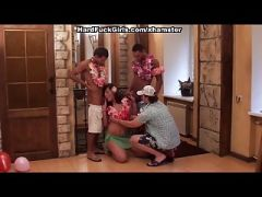 group sex with the girl on a Hawaiian party