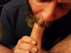 Daddy cums in his cocksucker\'s hungry mouth