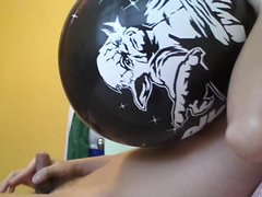 blowing balloon and powerful cum