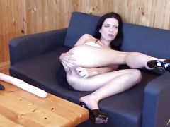Nasty julia double toying her holes