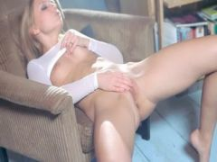 Pussy lips opening and huge vibrator