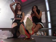 Lesbian Foot Lab Maitresse Madeline Submits To Feet
