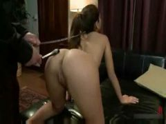 Teen With Ponytail And Collar Fucked In The Ass