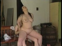 Chubby black haired getting nailed