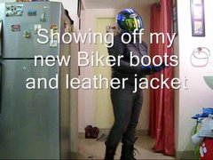 leather biker with hint of blue