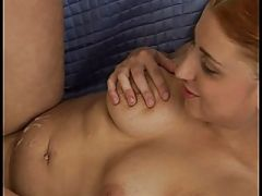 Chubby plays with cock