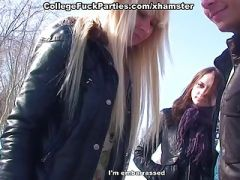 Partying girls in sucking and sexy college fucking on snow