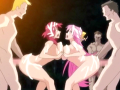 Chained hentai girls with bigbobs brutally groupfucked